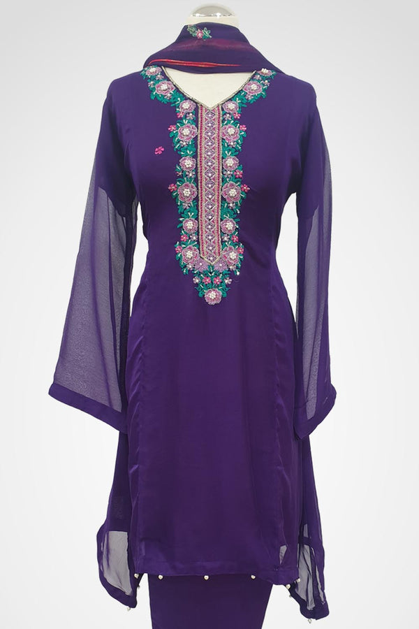 MU-03 Purple Colour Embroidered Ready to Wear Chiffon 3Pcs Suit
