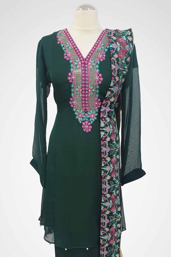 MU-04 Dark Green Colour Embroidered Ready to Wear Chiffon 3Pcs Suit