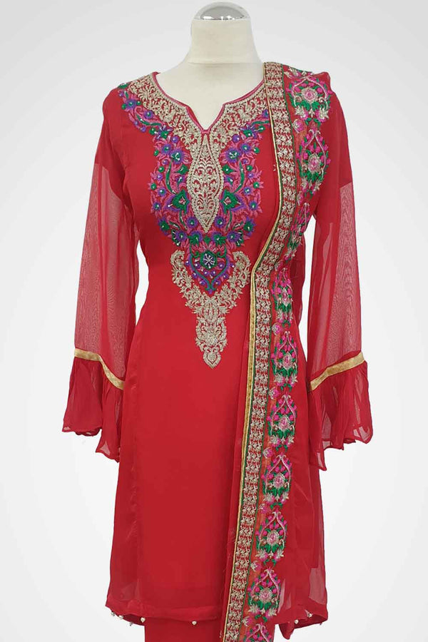 MU-05 Red Colour Embroidered Ready to Wear Chiffon 3Pcs Suit