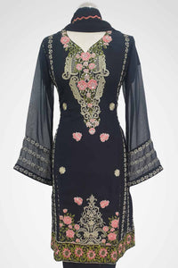 MU-09 Black Colour Embroidered Ready to Wear Chiffon 3Pcs Suit