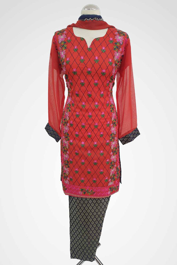 MU-10 Red Colour Embroidered Ready to Wear Chiffon 3Pcs Suit