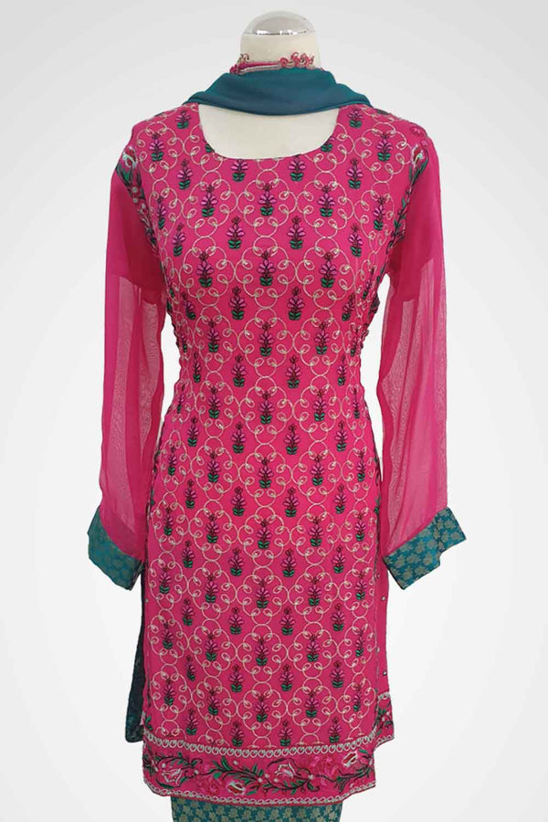 MU-11 Cerise Pink Colour Embroidered Ready to Wear Chiffon 3Pcs Suit