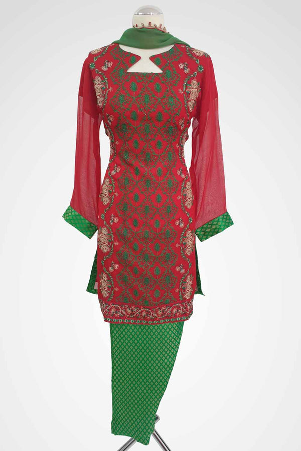 MU-12 Red Colour Embroidered Ready to Wear Chiffon 3Pcs Suit
