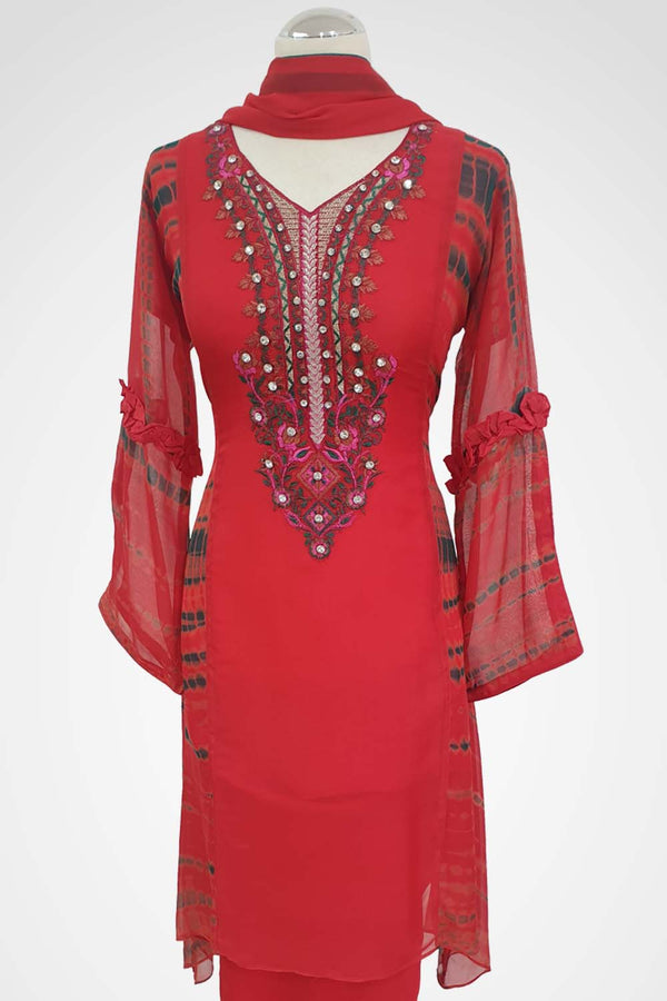 MU-13 Red Colour Embroidered Ready to Wear Chiffon 3Pcs Suit