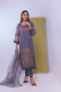 (SBK-03) Grey Colour Organza Suit Embroidered Ready to Wear 3Pcs Suit