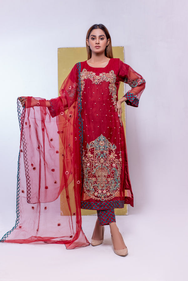 (SBK-04) Red Colour Organza Suit Embroidered Ready to Wear 3Pcs Suit