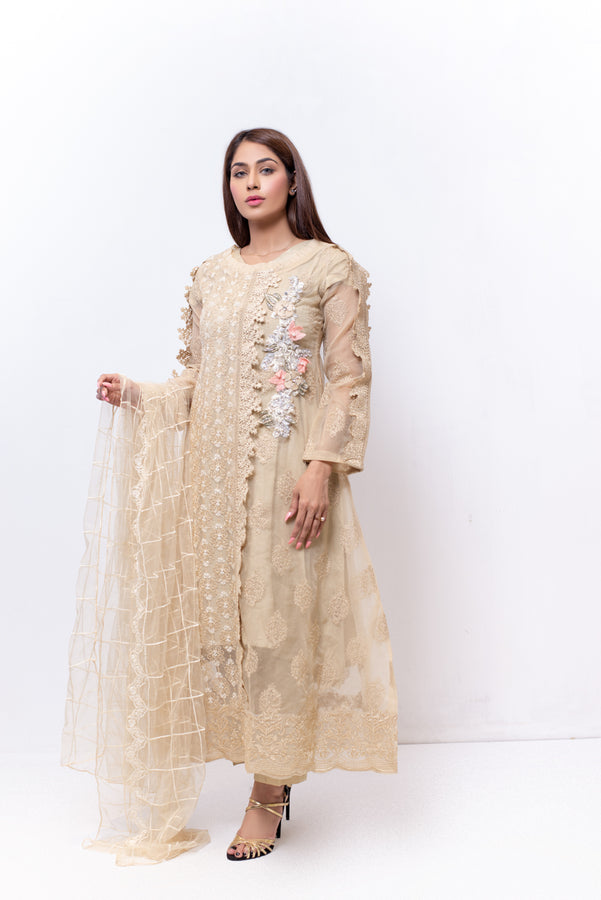 (SBK-13) Beige Colour Organza Suit Embroidered Ready to Wear 3Pcs Suit