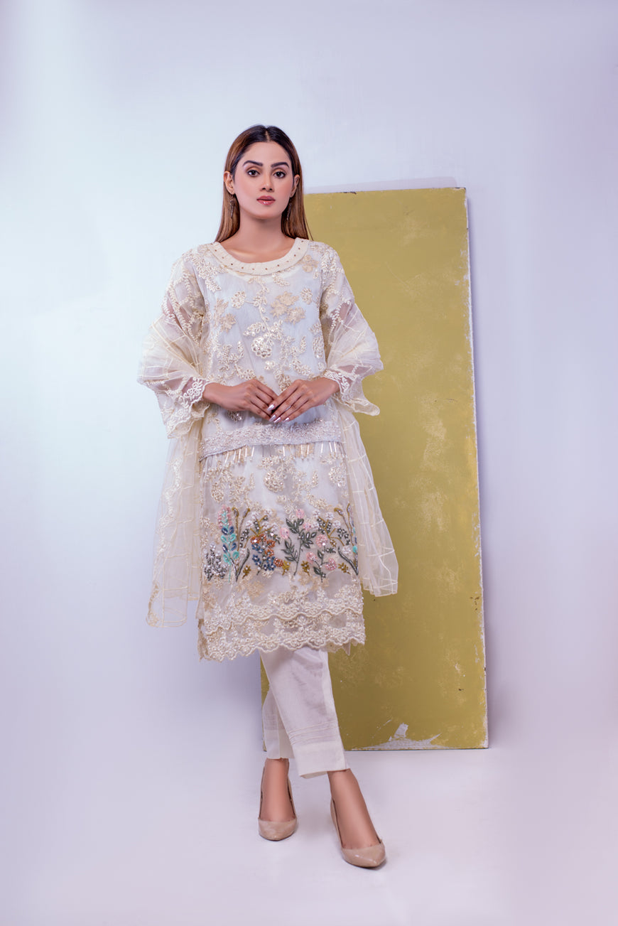 (SBK-18) Cream Colour Organza Suit Embroidered Ready to Wear 3Pcs Suit