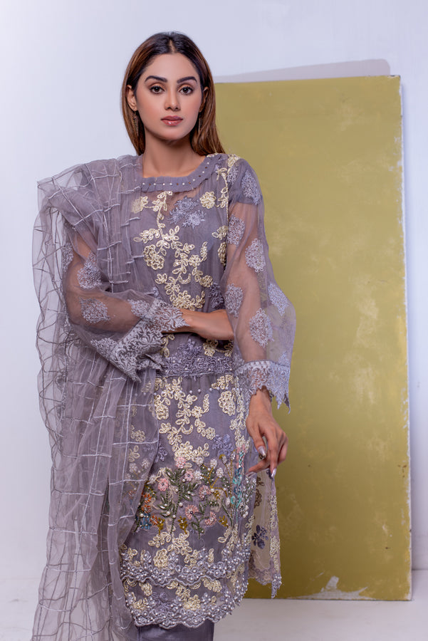 (SBK-19) Grey Colour Organza Suit Embroidered Ready to Wear 3Pcs Suit