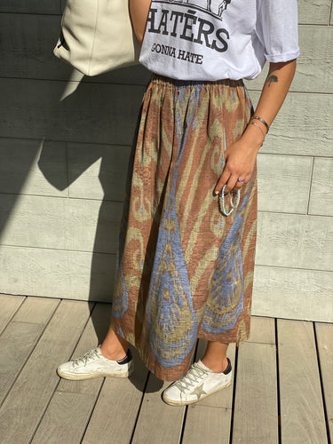 Brown & Blue Skirt Long