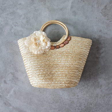Flower straw summer bag