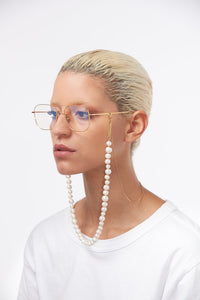 Pearly Princess yellow gold-plated glasses chain