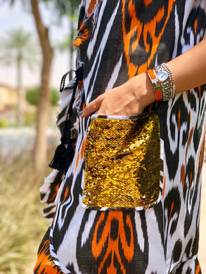 Orange and Black Sequin sleeveless chapan