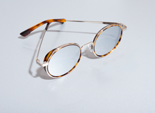 Load image into Gallery viewer, Snap havana & silver round sunglasses