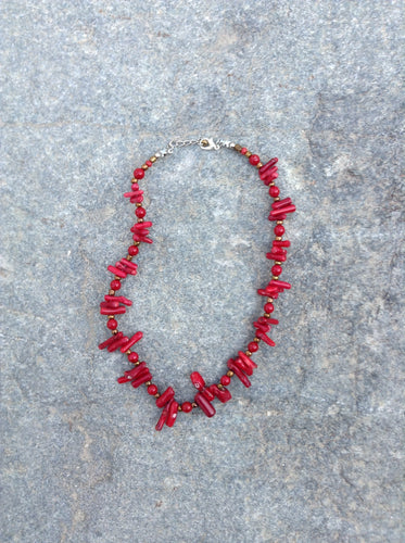 Large Natural Red Coral Necklace