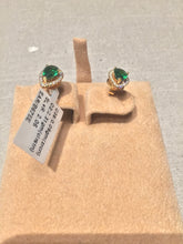Load image into Gallery viewer, Gold plated emerald color zirconium earrings.