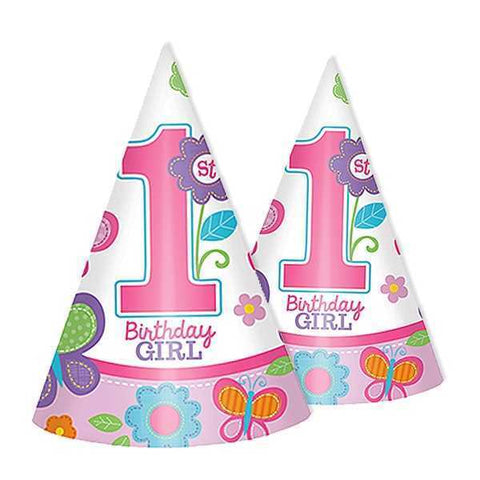 Party Hütchen Sweet 1st Birthday Girl, 8er Pack