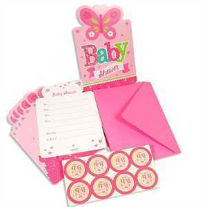Einladung Babyshower Welcome Baby Girl, 8er Set