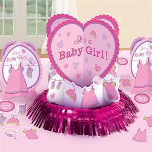 Tischdeko Set Babyshower It's a Girl, 3-tlg + 20 Konfetti
