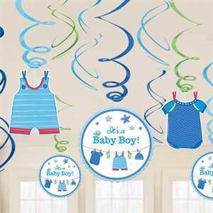 Hängespiralen Babyshower It's a Boy, 12er Set, je 60 cm