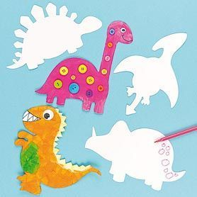 Blanko Pappform Dinosaurier, 10er Pack