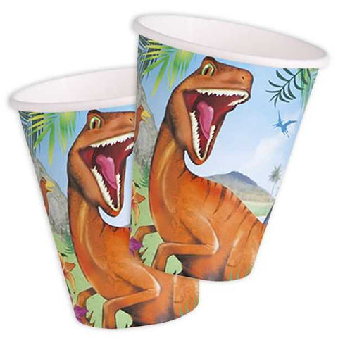 Party Becher Dino, Velociraptor, 8er Pack, Pappe