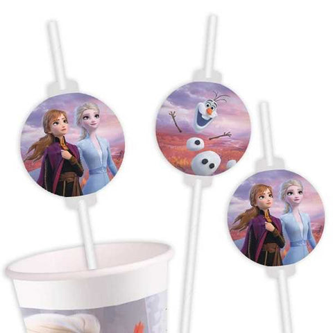 Trinkhalme, Frozen 2, 4er Pack, Party Deko Motto-Party am Kindergeburtstag, Geburtstag
