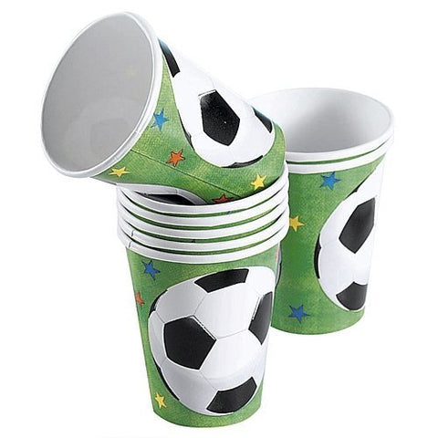 Party Becher Fussball rund, 8er Pack, Pappe