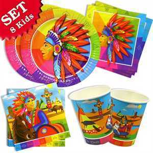 Party Set Basic Indianer, für 8 Kinder, 36-tlg