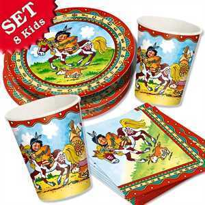 Party Set Basic Indianer Yanuk, für 8 Kinder, 36-tlg