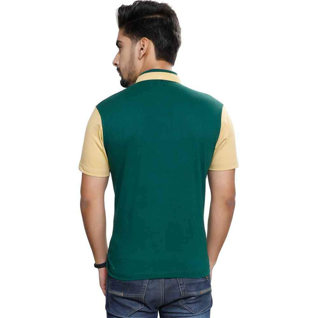 Green Half Sleeve Chinese Collar T-Shirt