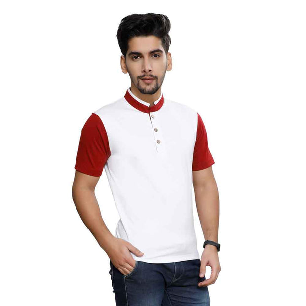 White Half Sleeve Chinese Collar T-Shirt