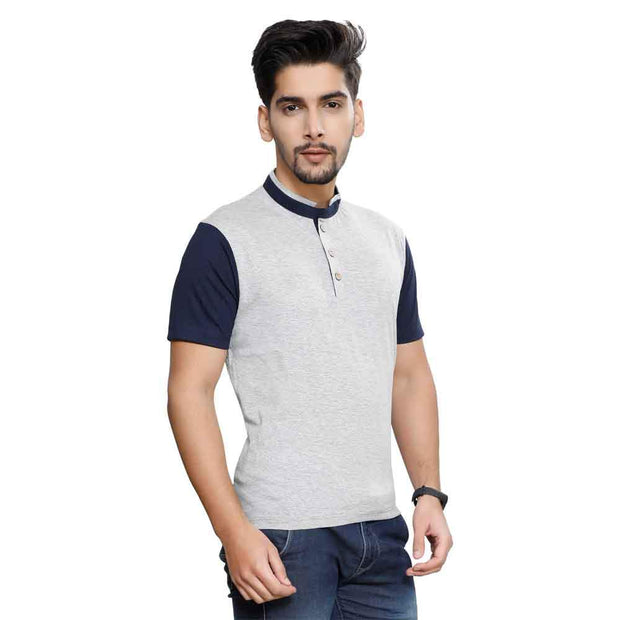 Grey Half Sleeve Chinese Collar T-Shirt