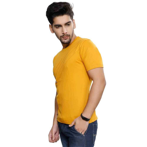 Gold Half Sleeve Front Button T-Shirt