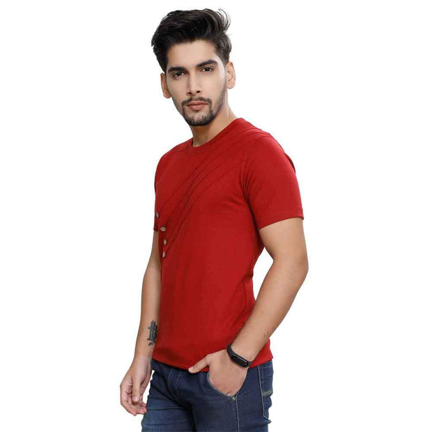 Maroon Half Sleeve Front Button T-Shirt