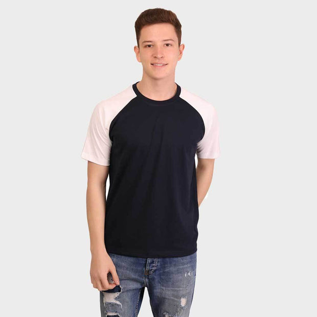 Navy White Raglan Half Sleeve T-Shirt