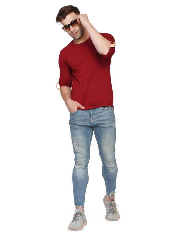Maroon Round Neck Full Sleeve Arm Fold Side Button T-Shirt