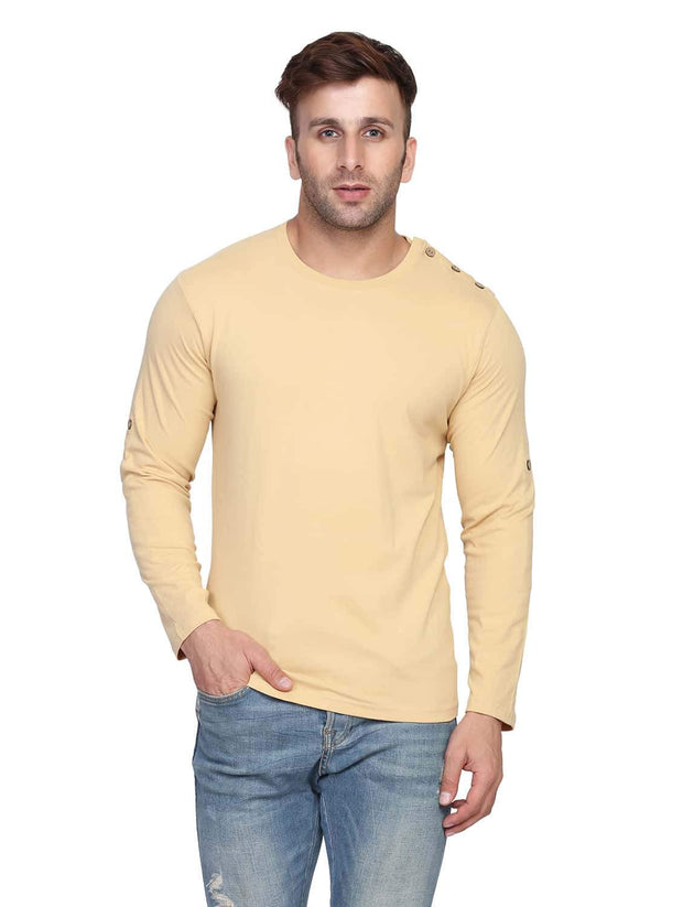 Beige Round Neck Full Sleeve Arm Fold Side Button T-Shirt