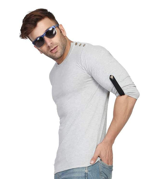 Grey Round Neck Full Sleeve Arm Fold Side Button T-Shirt