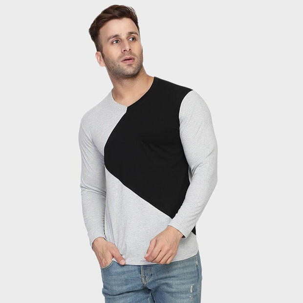 Grey V Neck Full Sleeve T-Shirt