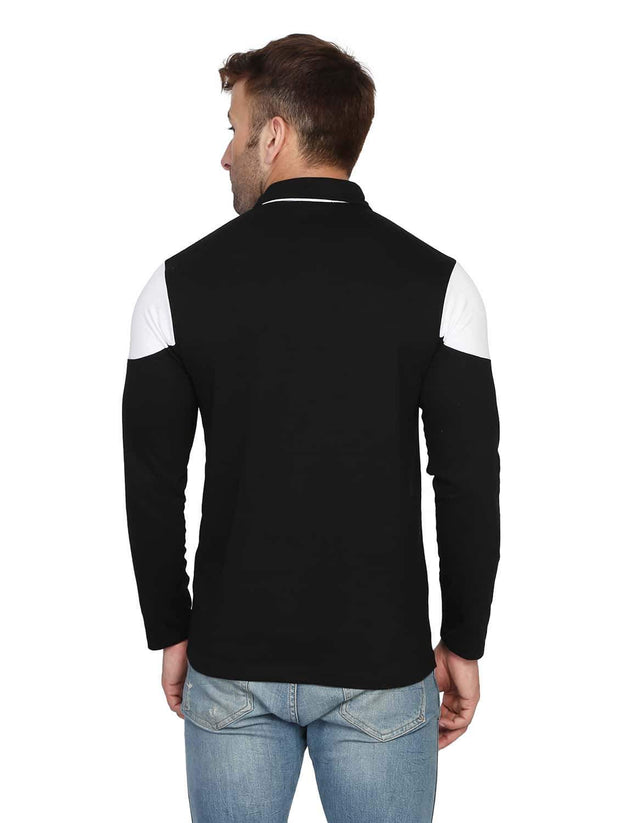 Black Collar Polo Full Sleeve T-Shirt