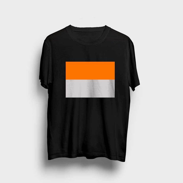 Color Blocked Orange-Grey T-Shirt
