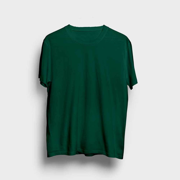 Dark Green Round Neck Solid T-Shirt