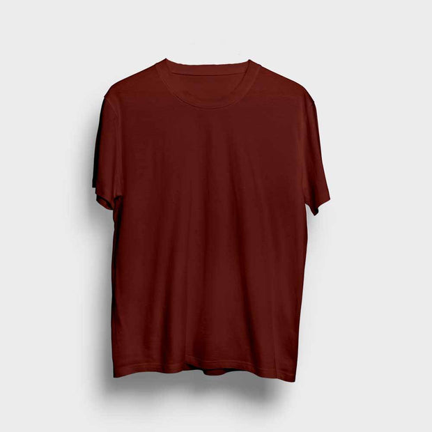 Maroon Round Neck Solid T-Shirt