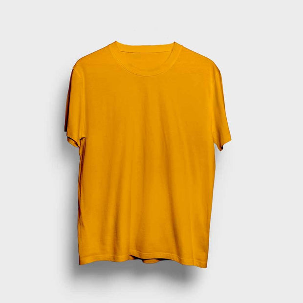 Mustard Round Neck Solid T-Shirt