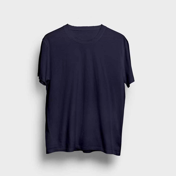 Navy Blue Round Neck Solid T-Shirt