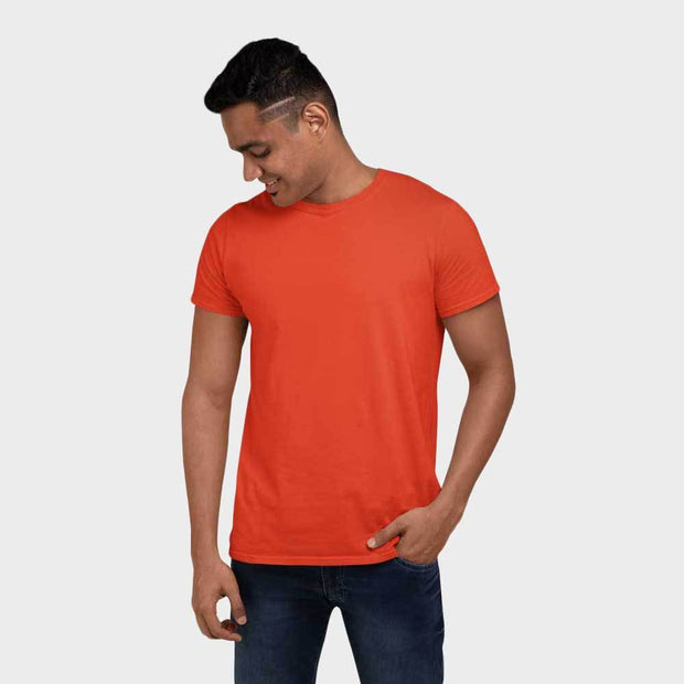 Orange Round Neck Solid T-Shirt