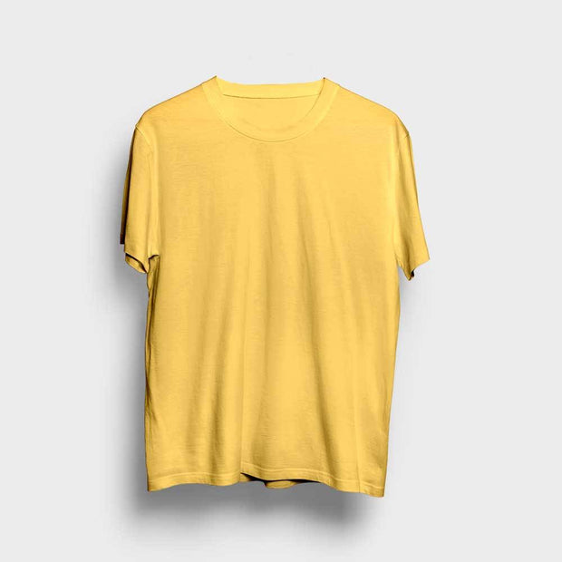 Yellow Round Neck Solid T-Shirt