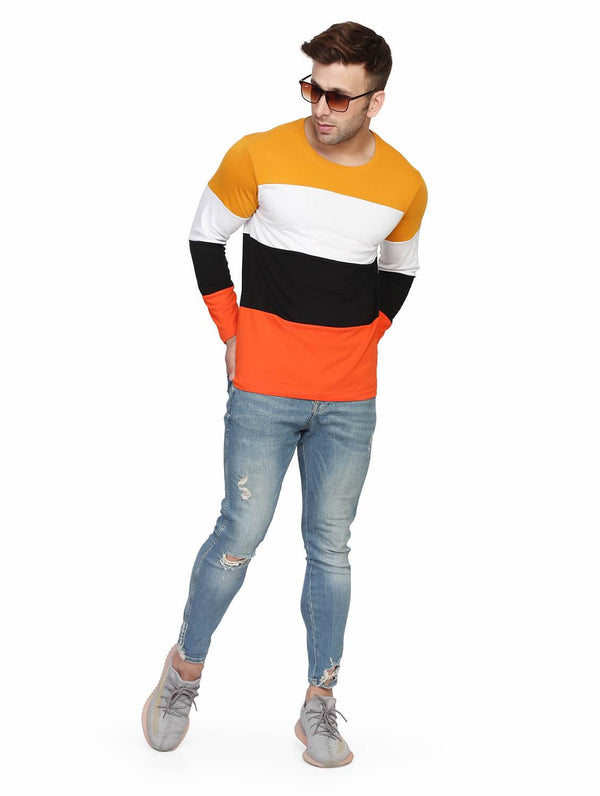 Gold White Color Blocked Round Neck Full Sleeve T-shirt
