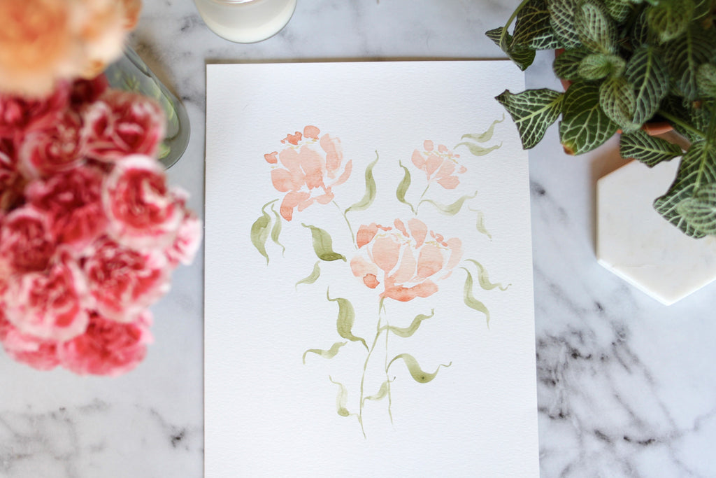 9x12 hand-painted loose peony blooms